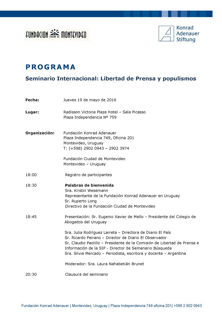 Seminario Internacional. Libertad de prensa y populismos