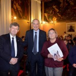Claudio Scarpa (Cónsul Honorario de Uruguay en Venecia), Ruperto Long, y Marina Scarpa (Vicepresidente de la Asociación Hijos de la Shoá).